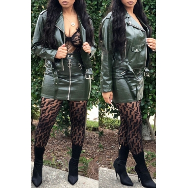 Lovely Chic Zipper Design Green Two-piece Skirt Set