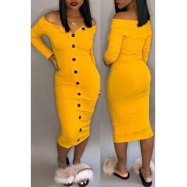 Lovely Casual Buttons Decorative Yellow Mid Calf Dress