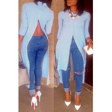 Lovely Trendy Turndown Collar Long Sleeves Split Light Blue Cotton Blousing Blouse