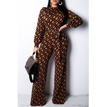 Lovely Trendy Printed Khaki Blending One-piece Jumpsuit