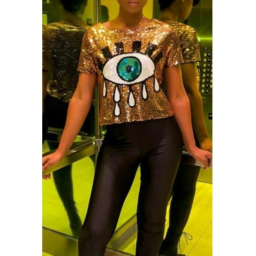 Lovely Sweet Character Gold Sequined T-shirt