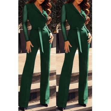 Lovely Casual Patchwork  Green Blending One-piece Jumpsuit