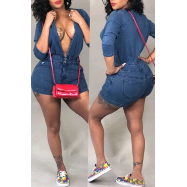 Lovely Casual Skinny Blue Denim One-piece Rompers
