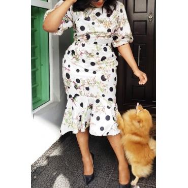 Lovely Sweet Flounce Design White Knee Length Dress