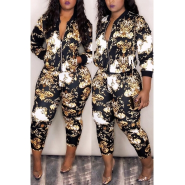 Lovely Trendy Long Sleeves Black Blending Two-piece Pants Set