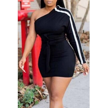 Lovely Casual Dew Shoulder Black Blending Mini Dress