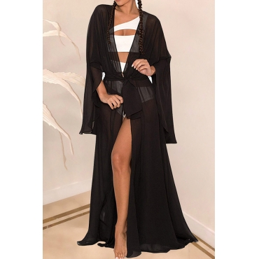 Lovely Casual Long Black Chiffon  CoverUps