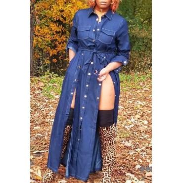 Lovely Trendy Buttons Design Blue Denim  Ankle Length Dress