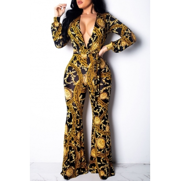 Lovely Trendy Printed Gold One-piece Jumpsuit