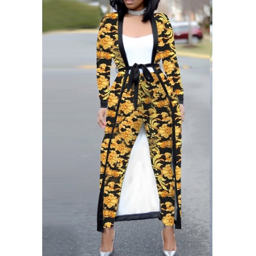 Lovely Casual Printed Knitting Two-piece Pants Set(With Belt)
