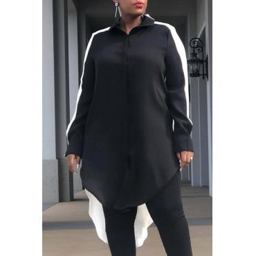 Lovely Chic Patchwork Black Knitting Blouses