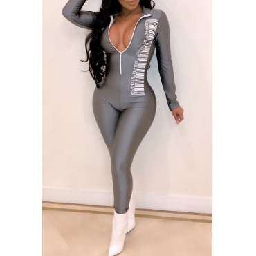 Lovely Casual Skinny Grey Blending One-piece Jumpsuit