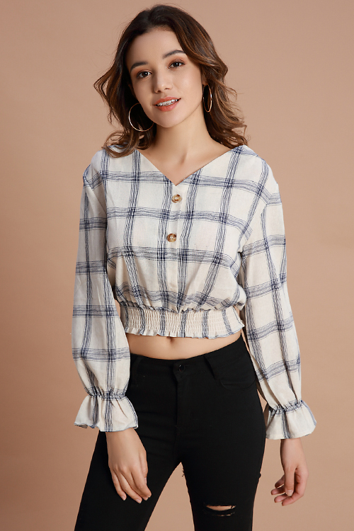 Lovely Casual Grids Printed  White Shirts