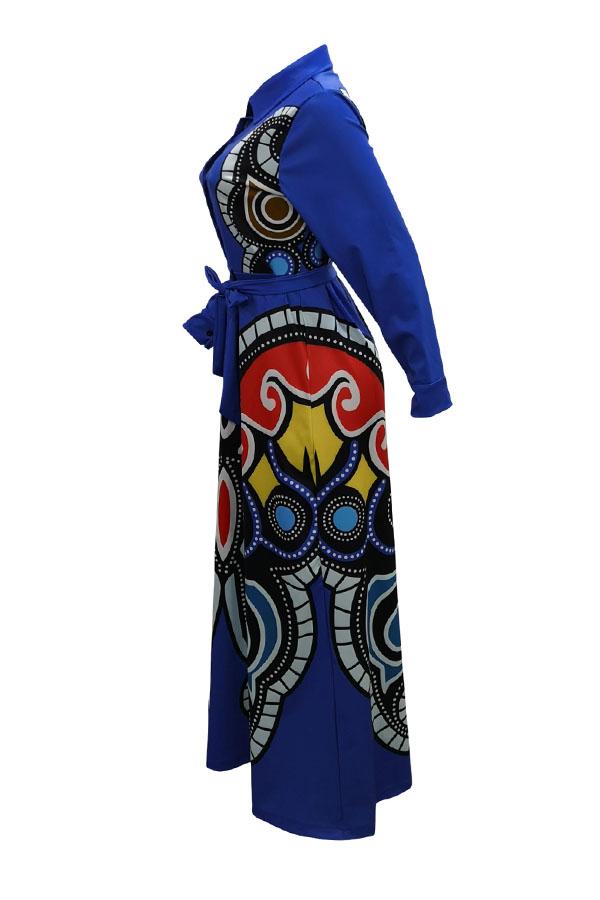 Lovely Casual Printed Royal Blue Floor Length Dress