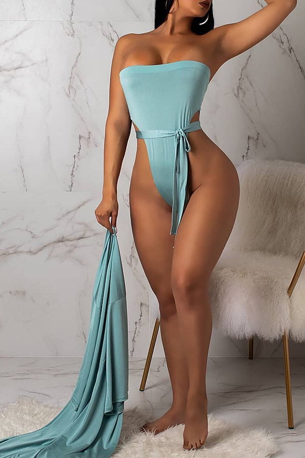 Lovely Sexy Dew Shoulder Baby Blue One-piece Swimwear(With Cover-up)