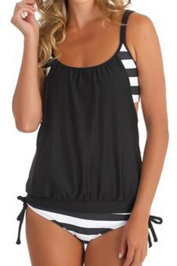 Lovely Trendy Patchwork Black One-piece Swimwears