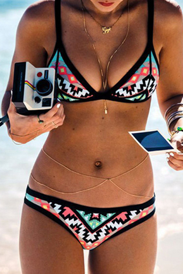 Lovely Casual Printed Multicolor Bikinis