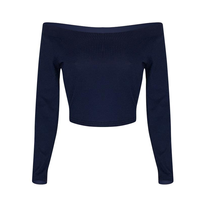 Lovely Casual Dew Shoulder Dark Blue T-shirt
