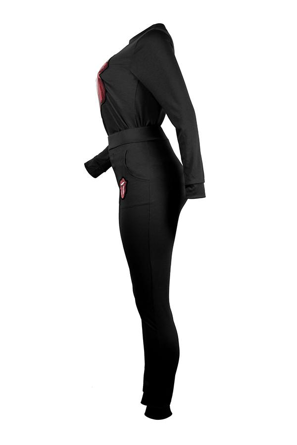 Precioso Conjunto De Pantalones De Dos Piezas De Lentejuelas Negras Decorativas De Moda.