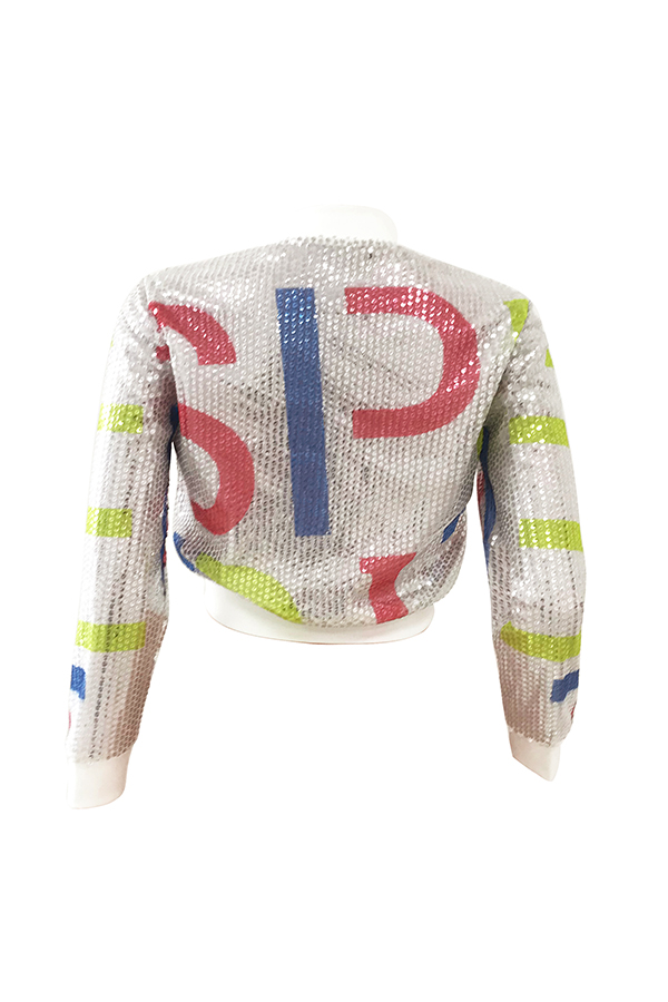 Lovely Casual Sequined  Silver Jacket(Non Positioning Printing)