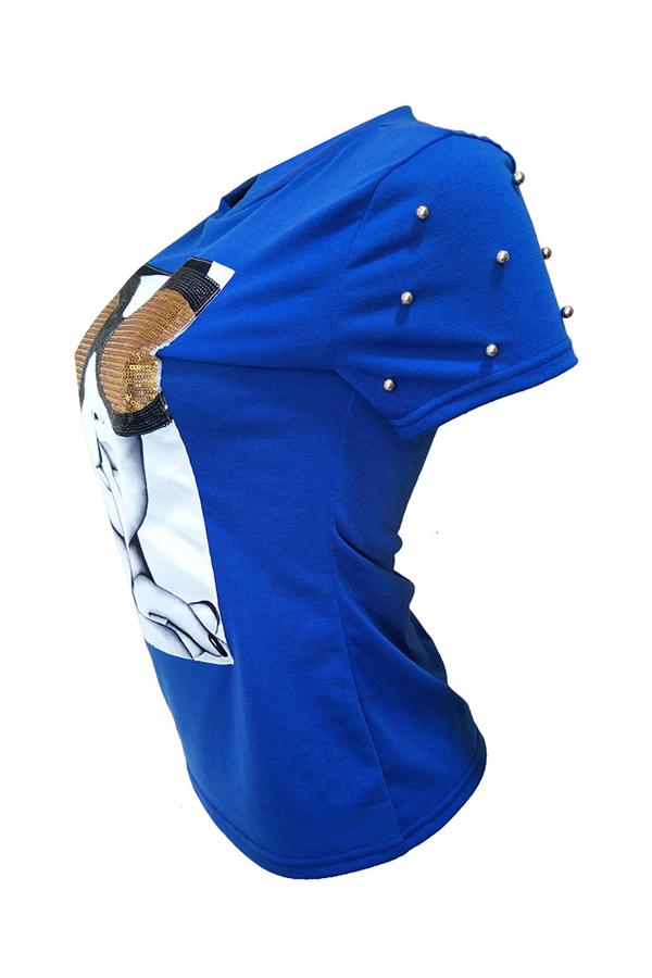 Camiseta Decorativa Con Mezcla De Lentejuelas Azul Real Elegante Y Encantadora