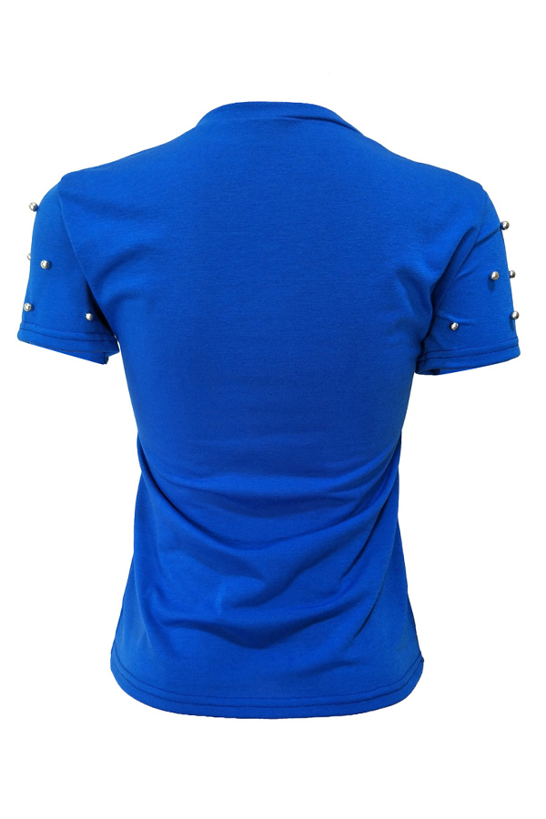 T-shirt In Misto Blu Royal Con Paillettes Decorative
