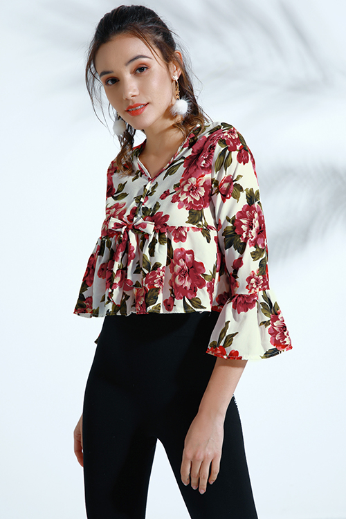 Lovely Bohemian Trumpet Sleeves Multicolor Cotton Blends Blouses