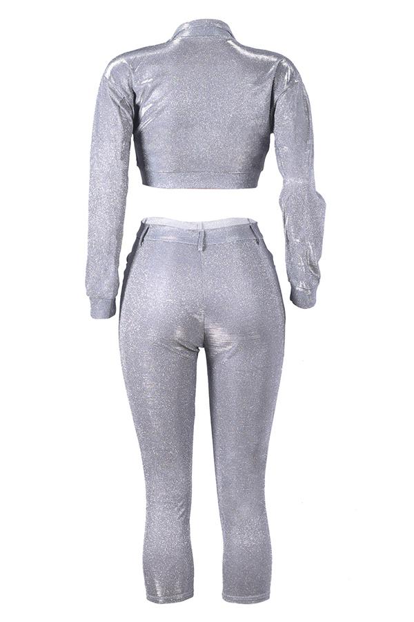 Bonitos Botones De Moda De Diseño De Dos Piezas De Plata Conjunto De Pantalones
