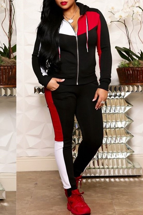 Lovely Casual Patchwork Black Twilled Satin Two-piece Pants Set