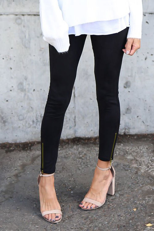 Lovely Euramerican Mid Waist Black Blending Leggings