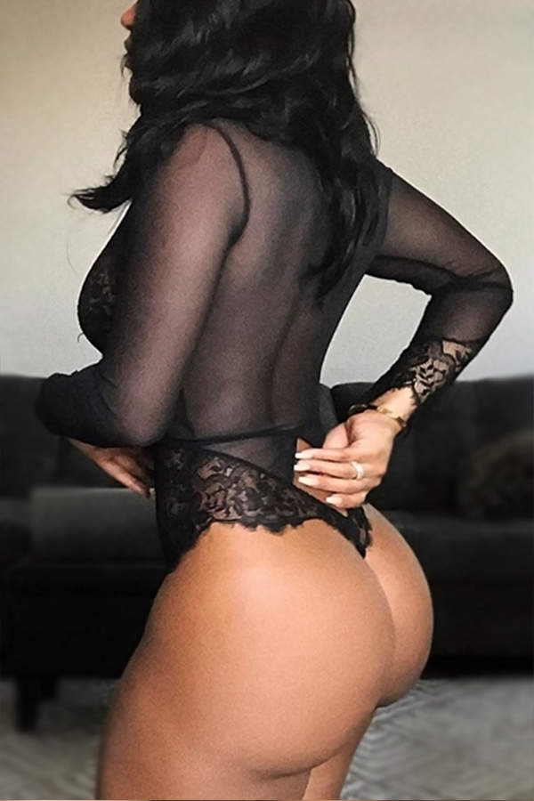 Lovely Sexy Deep V Neck Long Sleeves See-Through Black Lace Teddies