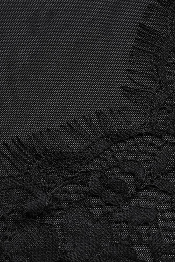 Reizende Reizvolle Tiefe V-Ausschnitt Lange Ärmel Durchsichtige Schwarze Spitzenteddys