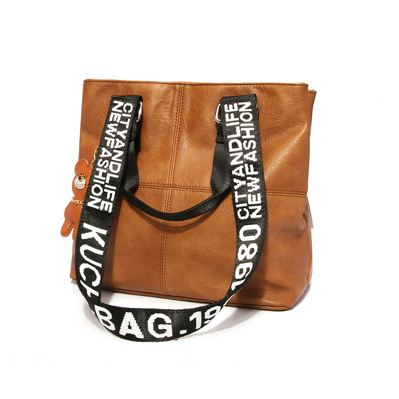 Lovely Casual Patchwork Brown PU Shoulder Bags