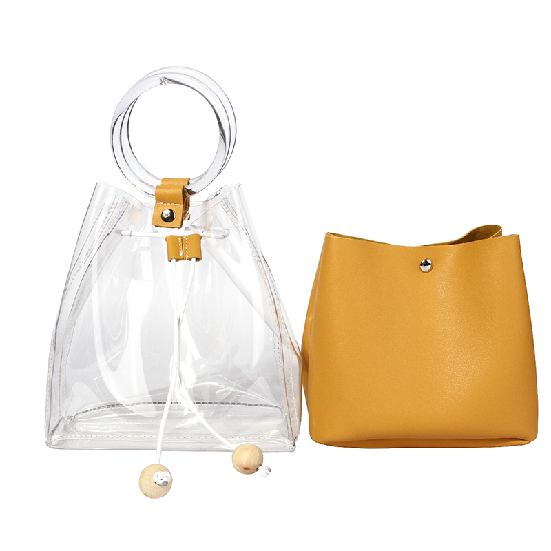 Lovely Casual See-through Yellow PVC Clutches Bags