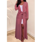 Lovely Casual Lace-up Pink Chiffon Coat