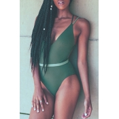 Lovely Sexy Hollowed-out Army Green One-piece Swim