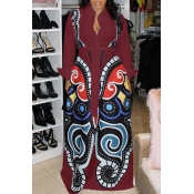 Lovely Casual Printed Loose Wine Red  Blending Floor Length Dress