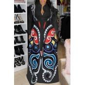Lovely Casual Printed Loose Black Blending Floor Length Dress