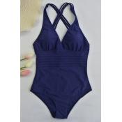Lovely Sexy Backless Dark Blue One-piece Swimwears