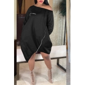 Lovely Casual Loose Black Knee Length Dress