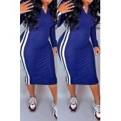 Lovely Casual Striped Blue Mid Calf Dress