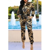Lovely Trendy Printed Gold Two-piece Pants Set