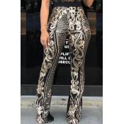 Lovely Trendy Printed Black Twilled Satin Pants