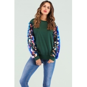 Lovely Casual Sequined Decorative Green Sweatshirt