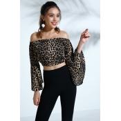 Lovely Trendy Dew Shoulder Leopard Shirts