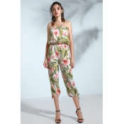 Lovely Trendy Floral Printed White One-piece Jumps