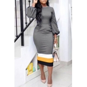 Lovely Trendy Patchwork Grey Twilled Satin Mid Calf Dress