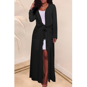 Lovely Casual Lace-up Black Chiffon Coat