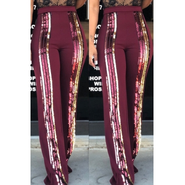 Lovely Trendy Sequined Decorative Wine Red Blending  Pants