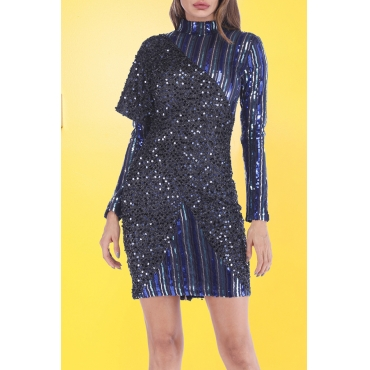 Lovely Trendy Patchwork Deep Blue Sequined Mini Dress
